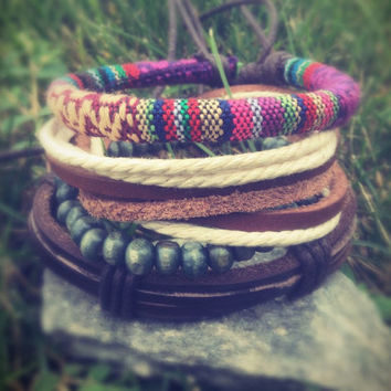 leather bracelet,4 piece bracelet,boho bracelet,friendship bracelet,wrap bracelet,braided bracelet,leather jewelry, girlfriend gift,