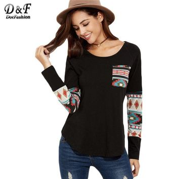 Black Curved Hem Pocket With Tribal Print Detail Tops Ladies Round Neck Long Sleeve Loose T-shirt