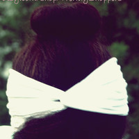 White turban headband - Boho - stretchy - workout headband - wedding