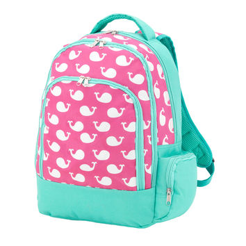Pink and Mint Whales Backpack