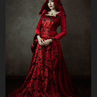 Red Velvet Gothic Hooded Medieval Dress - Devilnight.co.uk