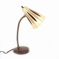 Vintage Desk Lamp with Geometric Pattern Fiberglass Shade