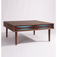 "Modern Mid Century Modern Reproduction Square Top Walnut ""Sarah"" Coffee Table"