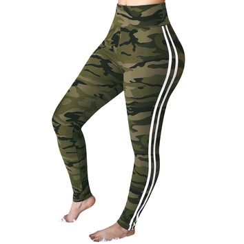 Womens Mid Waist Camouflage Striped Trousers Ladies Casual Drawstring Pants