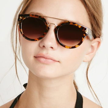 Round Metal-Bridge Sunglasses