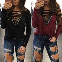 Carly Lace Up Long Sleeve - Women Loose Long Sleeve Cotton Casual Blouse Shirt Tops Fashion Summer T-shirt