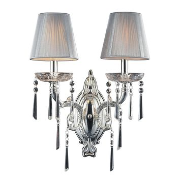 2392/2 Princess 2 Light Wall Sconce In Polished Silver With Silk String Shades - Free Shipping!