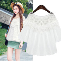 Lace Embroidered Chiffon Sleeve Lantern Blouse