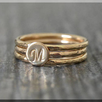Set of 3 14k Gold Filled Initial Rings, Personalized Gold Ring, Gold Filled Stacking Ring, Monogram Ring Stack, Hand stamped Initial Ring