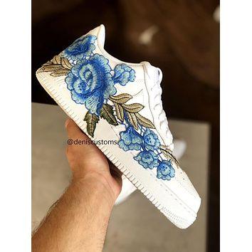 Nike Air Force 1 Low with FlowerBomb Blue Rose Floral Embroidered