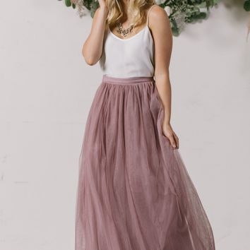 Anabelle Mauve Tulle Maxi Skirt