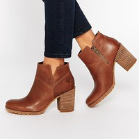 Timberland Swazey Beige Heeled Ankle Boots