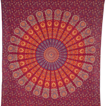 Anita Mandala Tapestry Large Red Hippie Bohemian Indian Block Print Wall Hanging Beach Blanket Bedspread Backdrop Ethnic Wall Art Tapestries