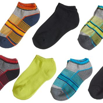 7-Pack Cute Athletic Multi Striped and Banded Low Cut Boys Socks