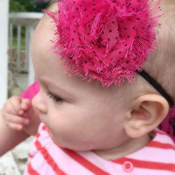 Shabby chic baby headband, polka dot flower headband, newborn, infant, toddler, teen, girls