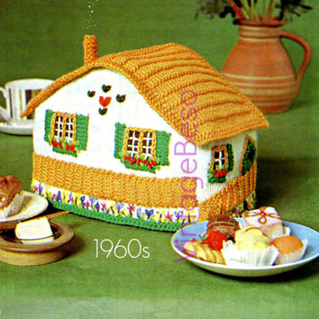 Swiss Chalet Tea Cosy 60s KNITTING Pattern - Pdf Pattern - Instant Download by Vintage Beso