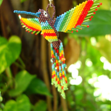 HUMMINGBIRD BEADED 3D BIRD Ornament Seed Beads Glass Miyuki Czech (Purple Body - Rainbow)