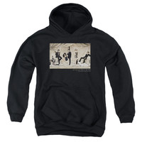 GOSSIP GIRL/CURTAINS-YOUTH PULL-OVER HOODIE - BLACK -