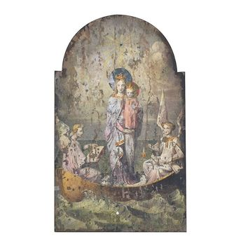 "Wood Wall Decor w Vintage Mary & Angels Image 24""L x 39""H"