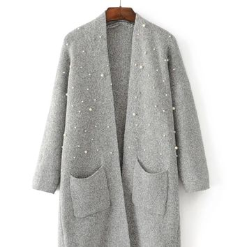 Pearl Decorated Long Cardigan Sweater