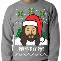 BeWild Brand® - Jesus - Birthday Boy - Ugly Christmas Sweater Adult Crewneck