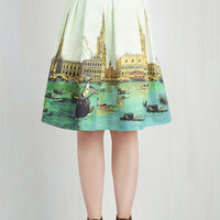 Vintage Inspired Mid-length A-line Canal or Never Skirt