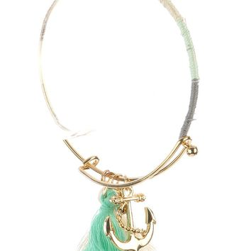 Mulit Color Anchor Tassel Charm Metal Wire Bangle Bracelet