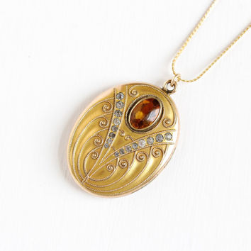 Antique Simulated Citrine and Clear Rhinestone Locket Necklace - Vintage Gold Filled 1900s Edwardian Art Nouveau Monogrammed W&H Co. Jewelry