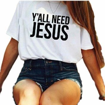 ESBOND White 'Y'ALL NEED JESUS' Letter Print T-Shirt