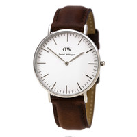 Daniel Wellington 0607DW Women's Classic St. Andrews White Dial Brown Leather Strap Watch