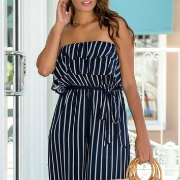 Sail Away Navy Striped Jumpsuit - Simply Me Boutique – Simply Me Boutique