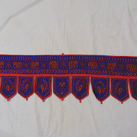 Handmade Toran Embroidered Vintage Door Topper Indian Home Decor Hanging Valance