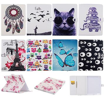 Butterfly Cat PU Leather Flip Case Apple iPad Tablet Back Cover