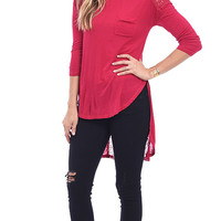 Seeing RED Lace Panel Slub Knit Tunic Top