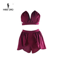 Free shipping Missord 2017  Sexy v-neck sleeveless two-pcs playsuit  FT4341