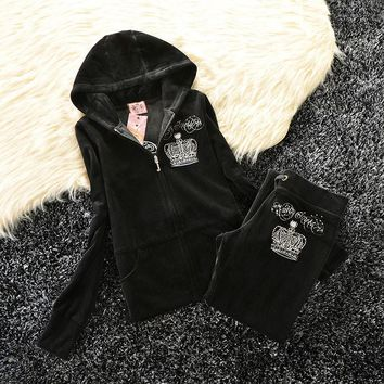 Juicy Couture Studded Bright Crown Velour Tracksuit 31059 2pcs Women Suits Black