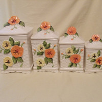 Square Pansy Canisters Set of 4 Yellow and Orange Pansies
