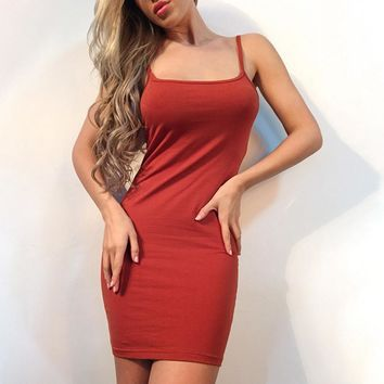 Hot sale sexy straps show thin pure color dress