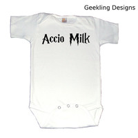 Accio Milk Harry Potter Bodysuit White by geeklingdesigns on Etsy