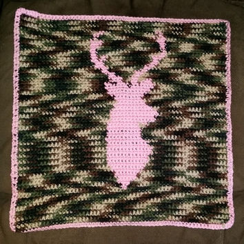 Crochet Baby Blanket, Camo and Deer Head,  made to order