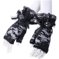 Gothic Crystal Bow Fingerless Gloves - RL-1017 by Medieval Collectibles