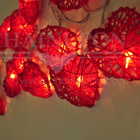 20 RED LOVE HEART RATTAN STRING PARTY,PATIO,FAIRY,DECOR,CHRISTMAS,WEDDING LIGHTS