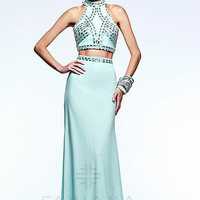 Two Piece High Neck Faviana Prom Dress