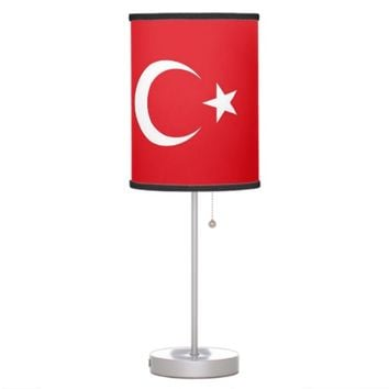 Patriotic table lamp with Flag of Turkey