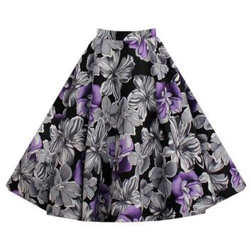 Hepburn Style Vintage Bubble Skirt A-line Pleated Skirt   purple