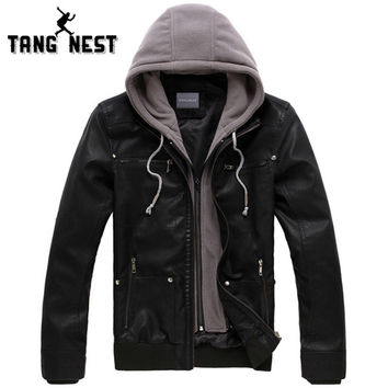 New Men's Leather Jacket Hooded Hat Detachable Fashionable Men PU Leather Jacket Warm Windbreaker Jacket