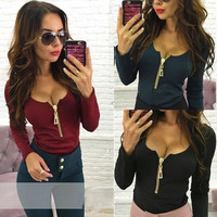 Women's Fashion Sexy Deep V Long Sleeve Zippers Casual Tops T-shirts [8909698630]