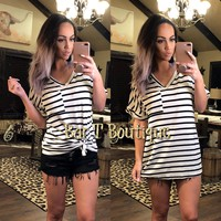 Black & White Stripe Boyfriend Tee
