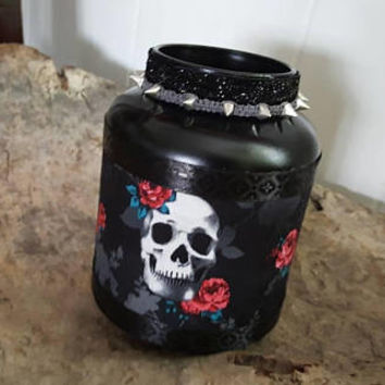 Makeup Brush Holder, Handmade, Recycled, Luxury Decor, Skull Decor Jar, Makeup, Dorm Room Decor, Vanity Makeup Holder, Cosmetics Organizer