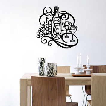 Wall Decal Cafe Vinyl Sticker Wine bottle with grapes and two glasses Art Design Room Nice Picture Decor Hall Wall Chu1094